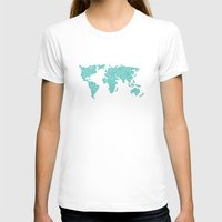polkadot T-shirts featuring World Map - Polkadot Atlas (Cyan) by Rothko