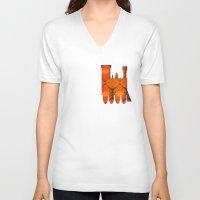 train V-neck T-shirts featuring Train by Doug McRae