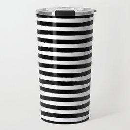 Black And White Hand Drawn Horizontal Stripes Travel Mug