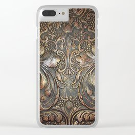 Golden Brown Carved Tooled Leather Clear iPhone Case