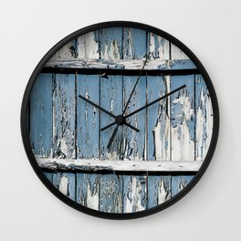 Blue Paint Chipped Fence Wall Clock