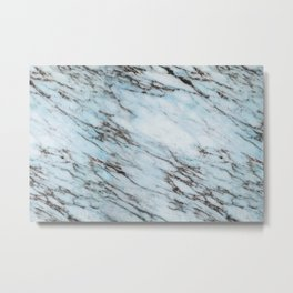 Aqua Black and White Marble Crackle Metal Print
