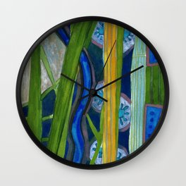 Pattern out of Grass and Stems and More Wall Clock
