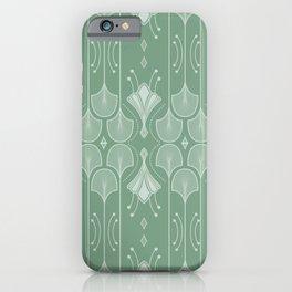 Art Deco Botanical Leaf Shapes Green iPhone Case