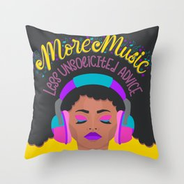 More Music: Woman with Headphones Throw Pillow
