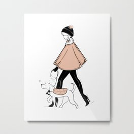 Winter Walk with my Pup Fashion Illustration Metal Print