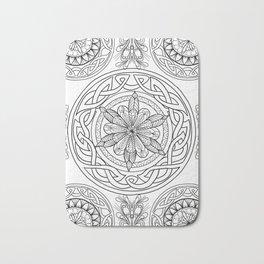 Circle Mandala Celtic Knot Pattern Black & Wite Bath Mat