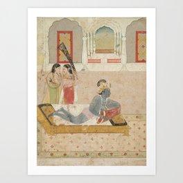 Krishna Awaiting Radha - 18th Century Classical Hindu Art Art Print