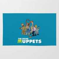 muppets Area & Throw Rugs featuring Drunk Muppets by Jared Gase