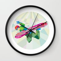 snowboard Wall Clocks featuring Snowboarder Snowboard Jumping Low Polygon by patrimonio