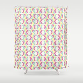 Magenta, Yellow, and Turquoise geometric hourglass pattern Shower Curtain