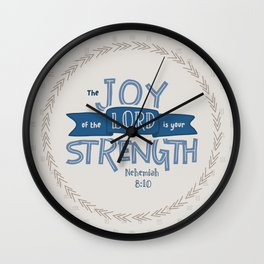 """The Joy of the Lord"" Hand-Lettered Bible Verse Wall Clock"