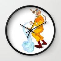 aang Wall Clocks featuring Aang And Momo by Van's Scribbles