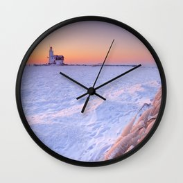 Lighthouse of Marken, The Netherlands at sunrise in winter Wall Clock