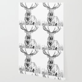 Deer in grass illustration / BW Wallpaper