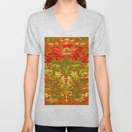 French Nouveau Red-Green Floral Caramel Color Designs Unisex V-Neck