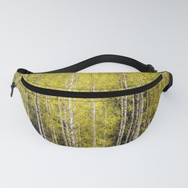 Lovely spring atmosphere - vibrant green leaves on the trees - beautiful birch grove Fanny Pack