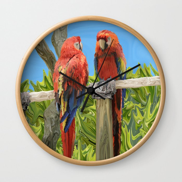 Scarlet Macaw Parrots Perching Wall Clock