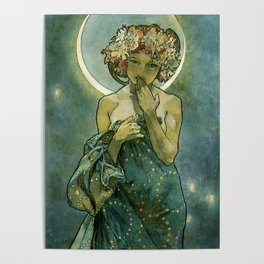 """Alphonse Mucha """"The Moon and the Stars Series: The Moon"""" Poster"""
