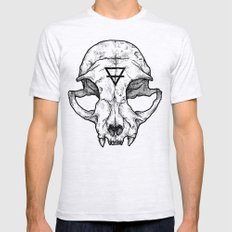 Cat Skull II Mens Fitted Tee Ash Grey MEDIUM