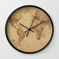 vintage map Wall Clocks featuring VINTAGE MAP by Oksana Smith