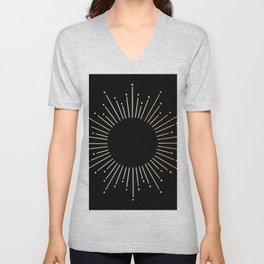 Sunburst Gold Copper Bronze on Black Unisex V-Neck