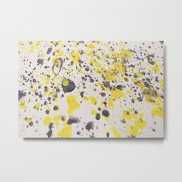 Yellow Grey Classic Abstract Art Metal Print