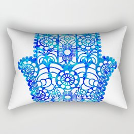 Blue Watercolor Hamsa Rectangular Pillow