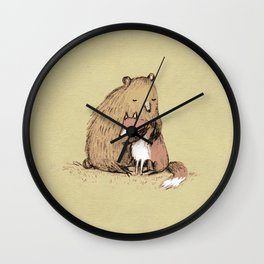 Grizzly Hugs Wall Clock
