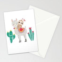 Sloth Riding Llama Stationery Cards