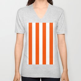Vertical Stripes - White and Dark Orange Unisex V-Neck