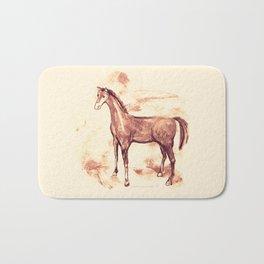 Horse sepia illustration Bath Mat