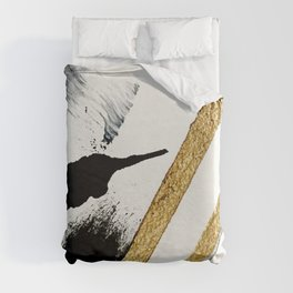 Armor [8]: a minimal abstract piece in black white and gold by Alyssa Hamilton Art Duvet Cover