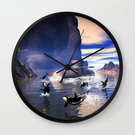 Submarine with orcas  Wall Clock
