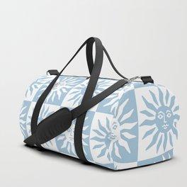 Mid Century Modern Sun Pattern Pale Blue Duffle Bag
