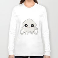 pastel goth Long Sleeve T-shirts featuring Pastel Goth Chibi Squid by Dead Fox Clothing