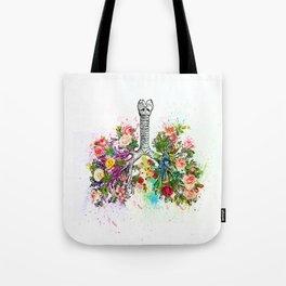Flowers Lungs Skeleton Watercolor Tote Bag