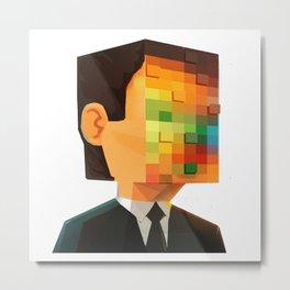 Pixel head Metal Print