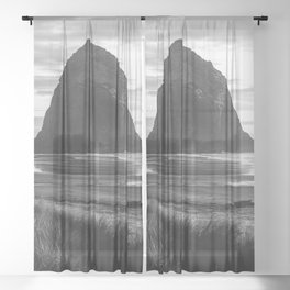 Cannon Beach Sunset - Black and White Nature Photography Sheer Curtain