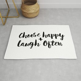 Choose Happy and Laugh Often black and white monochrome typography poster design home wall decor Rug