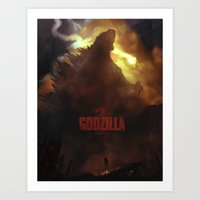 godzilla Art Prints featuring Godzilla by ImmarArt