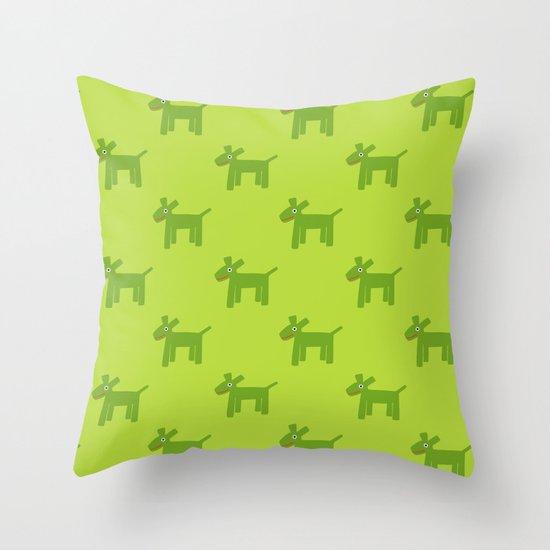 Dogs-Green Throw Pillow