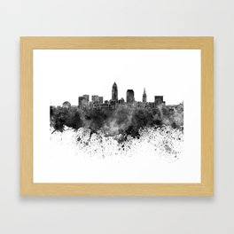 Cleveland skyline in black watercolor on white background Framed Art Print