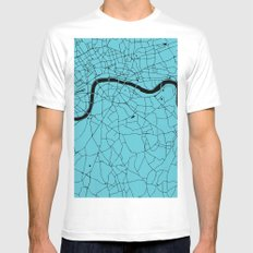London Turquoise on Black Street Map White MEDIUM Mens Fitted Tee