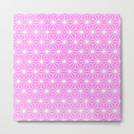 Girly Pink Geometric Flowers and Florals Isosceles Triangle Metal Print