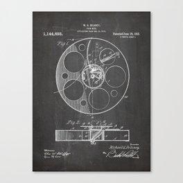 Film Reel Patent - Classic Cinema Art - Black Chalkboard Canvas Print