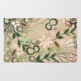 Detailed square of peach and green floral tangle Rug
