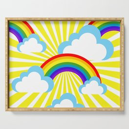 Cartoon sky background with rainbows and clouds Serving Tray