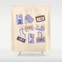 cassette Shower Curtains featuring Audio cassette by Katyau