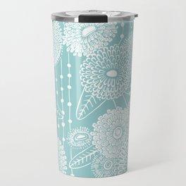 Asters rain in mint green color Travel Mug